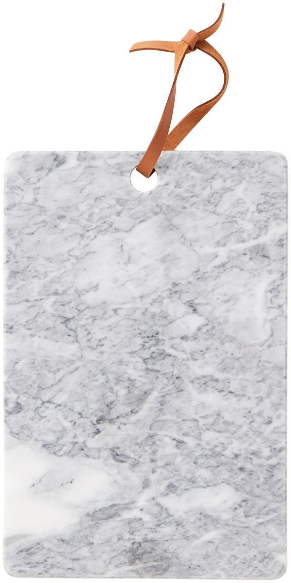Marmeren snijplank Bardi, Ophanglus: leer, Lichtgrijs, gemarmerd, B 30 x D 20 cm