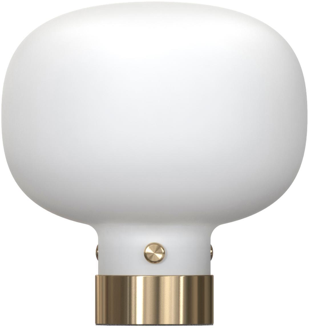 Tischlampe Raito aus Glas, Opalglas, Metall, Opalweiß, Messingfarben, Ø 20 x H 21 cm