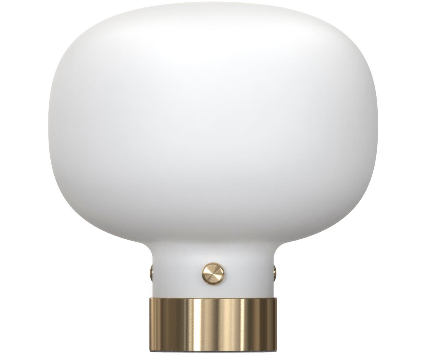 Lámpara de mesa Raito, Vidrio opalino, metal, Blanco opalino, latón, Ø 20 x Al 21 cm