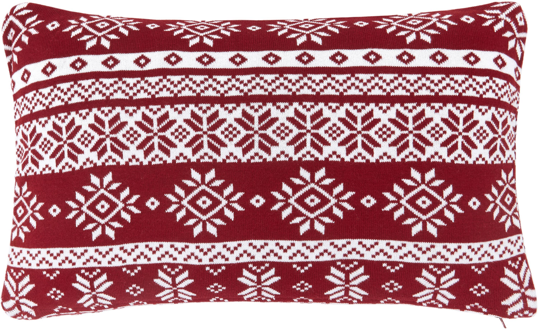 Feinstrick-Kissenhülle Frosty mit winterlichen Motiven, 100% Baumwolle, Dunkelrot, Cremeweiß, 30 x 50 cm
