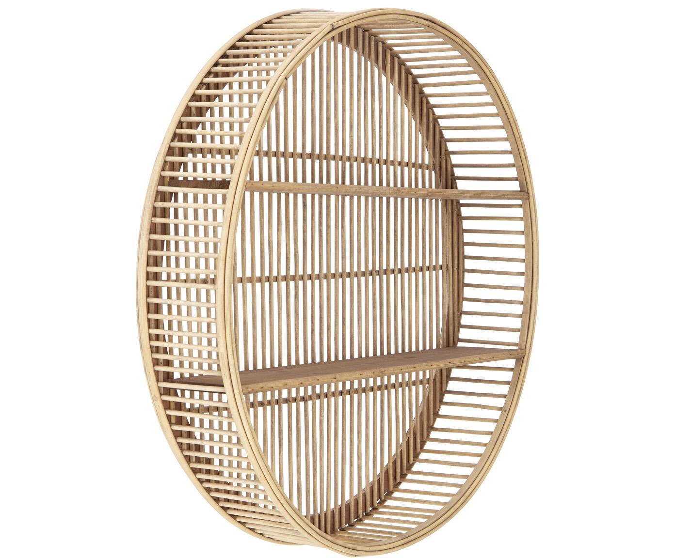 Mensola in bambù rotonda Bentra, Cornice: bambù, rattan, Ripiani: compensato, Beige scuro, Ø 60 x Alt. 12 cm