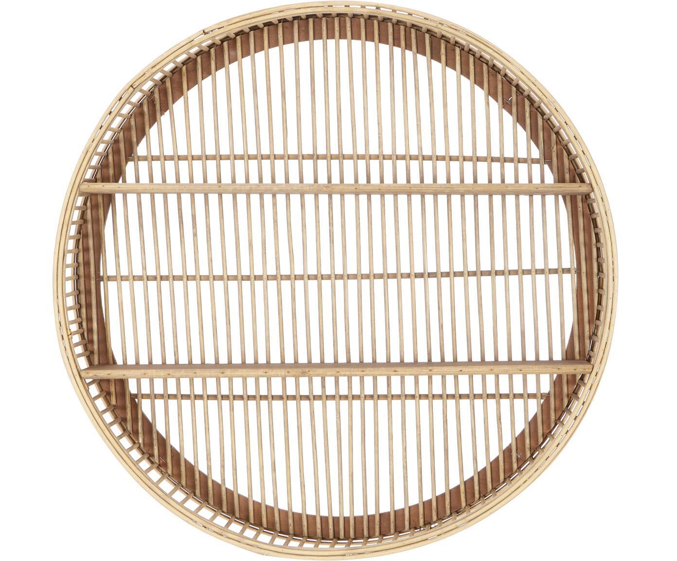 Estante de pared redondo de bambú Bentra, Estante: madera contrachapada, Beige oscuro, Ø 60 x Al 20 cm