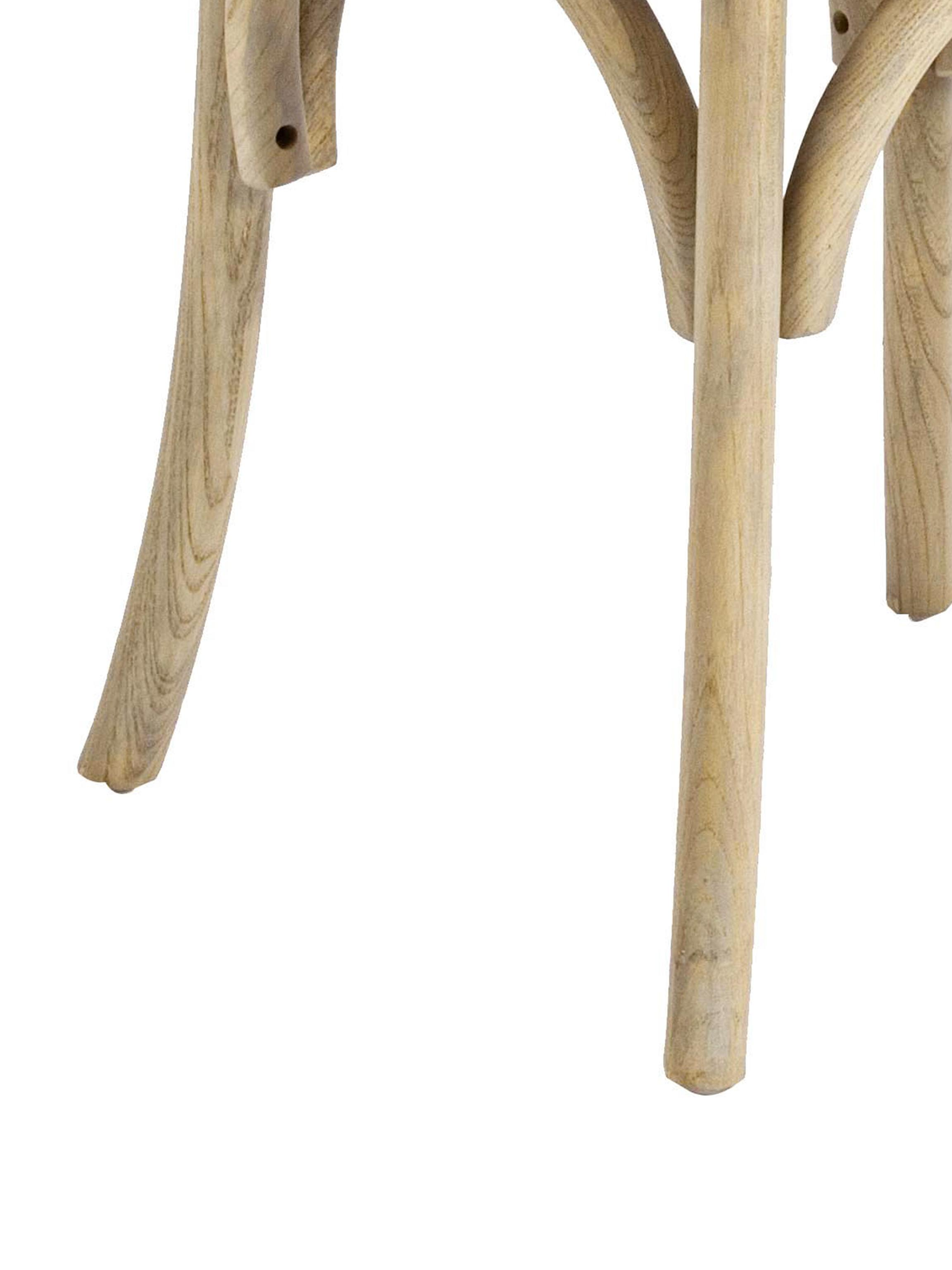 Silla de madera Cross, estilo rústico, Asiento: ratán, Estructura: madera de olmo, lacado tr, Marrón, An 42 x F 46 cm