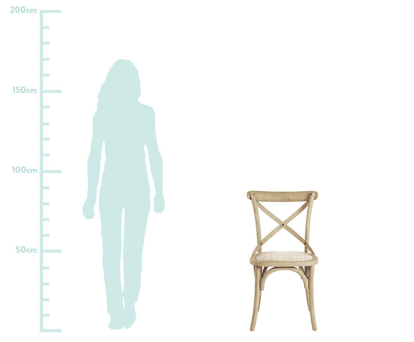 Krzesło Cross, Stelaż: drewno wiązowe, jasno lak, Rattan, drewno wiązowe, S 42 x G 46 cm