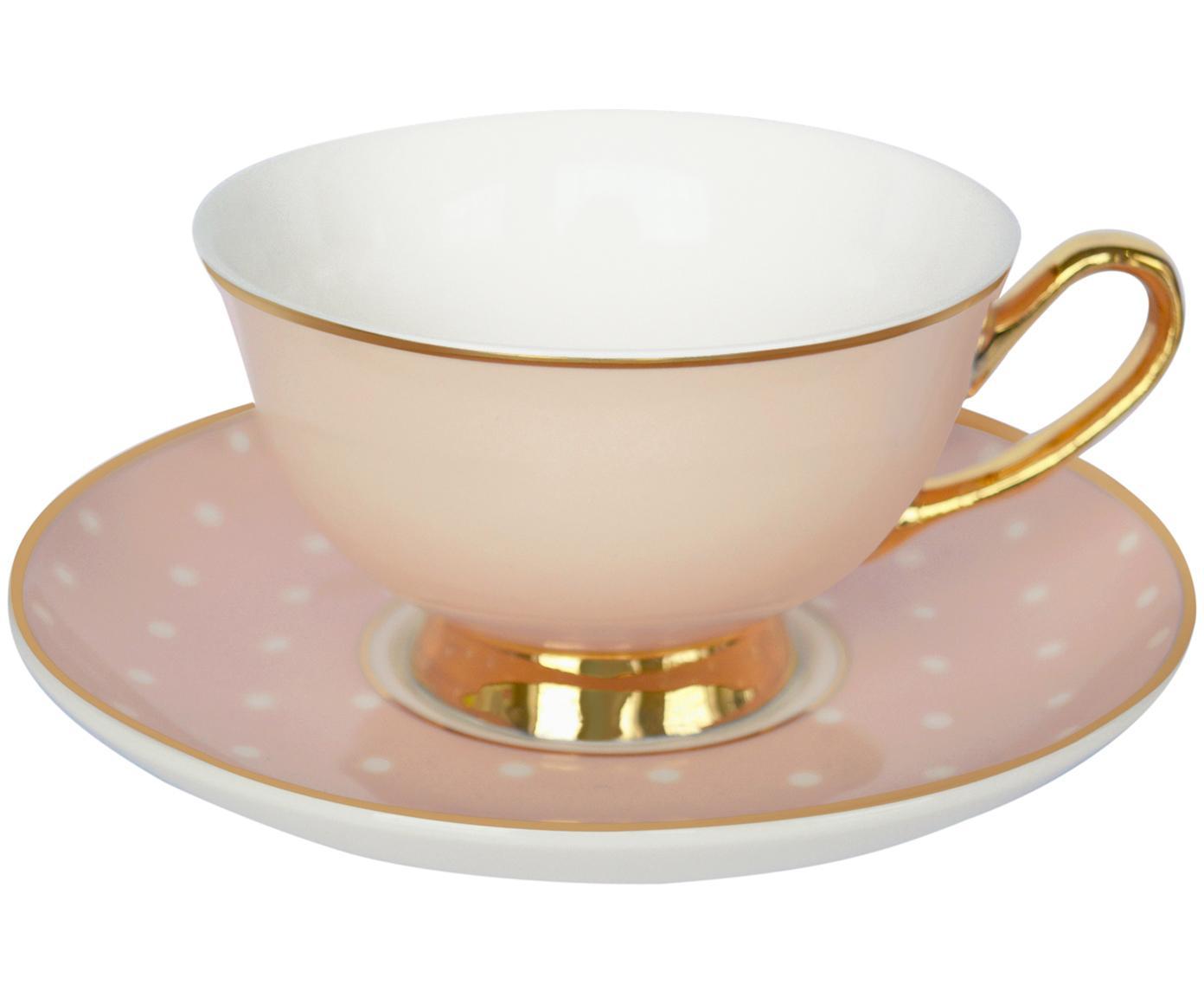 Teetasse mit Untertasse Spotty mit Goldelementen und Punkten, Bone China, vergoldet, Rosa, Weiß<br>Rand und Henkel: Gold, Ø 15 x H 6 cm