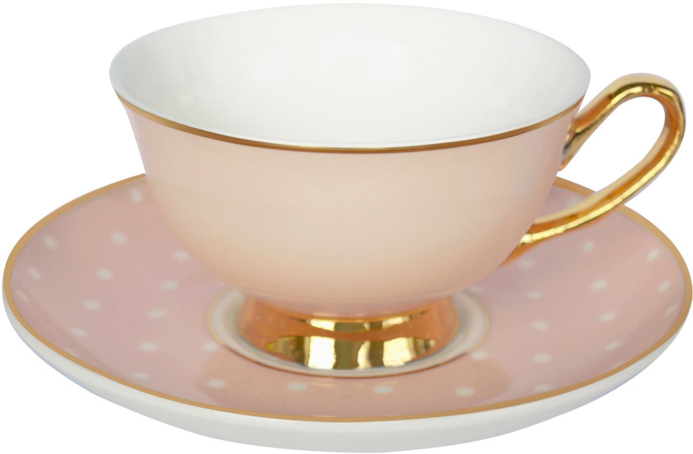 Filiżanka do herbaty ze spodkiem Spotty, Porcelana chińska, pozłacana, Blady różowy, biały Krawędź i uchwyt: złoty, Ø 15 x W 6 cm