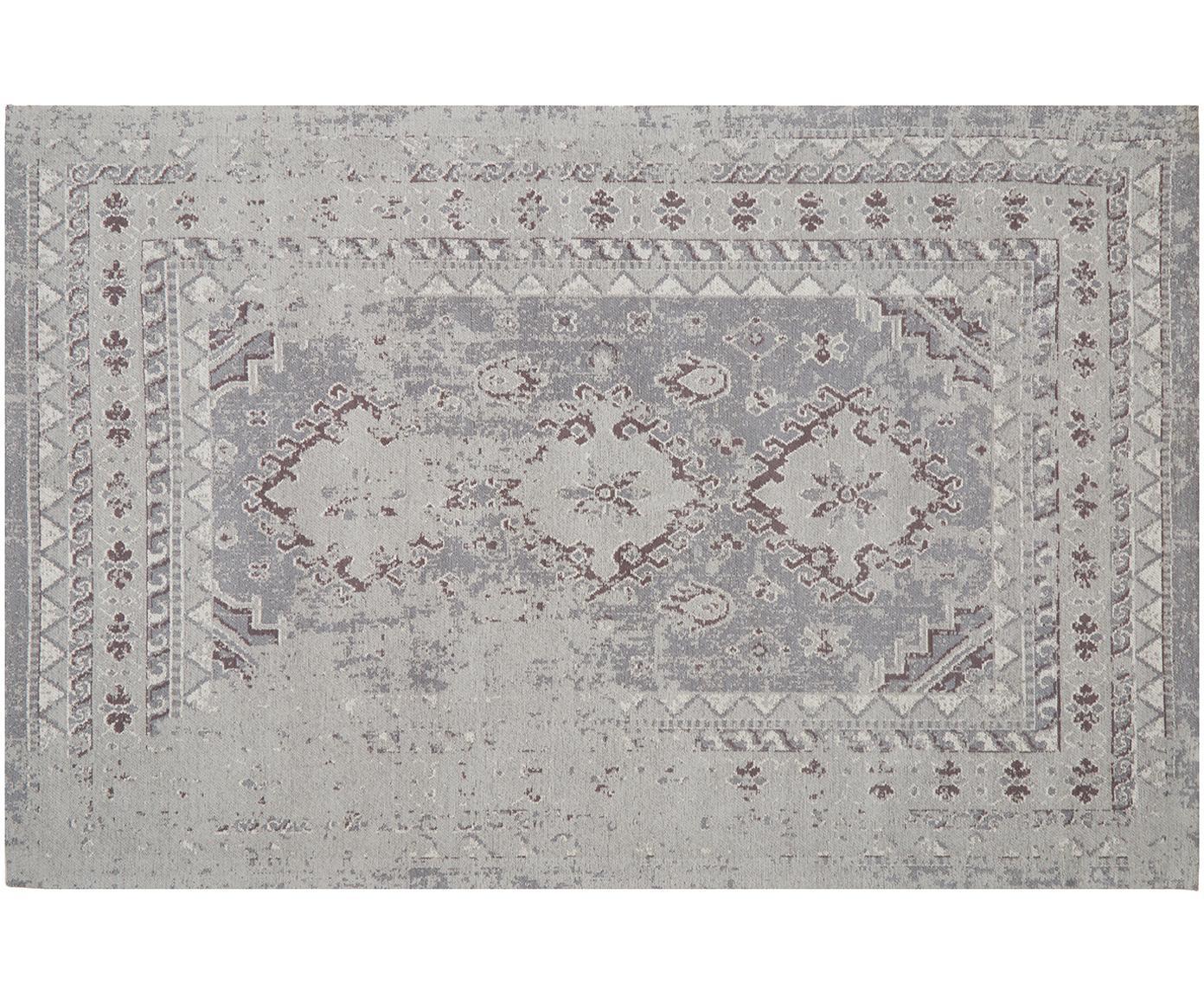 Vintage Chenilleteppich Rebel in Grau, Flor: 95% Baumwolle, 5% Polyest, Hellgrau, Creme, B 120 x L 180 cm (Grösse S)