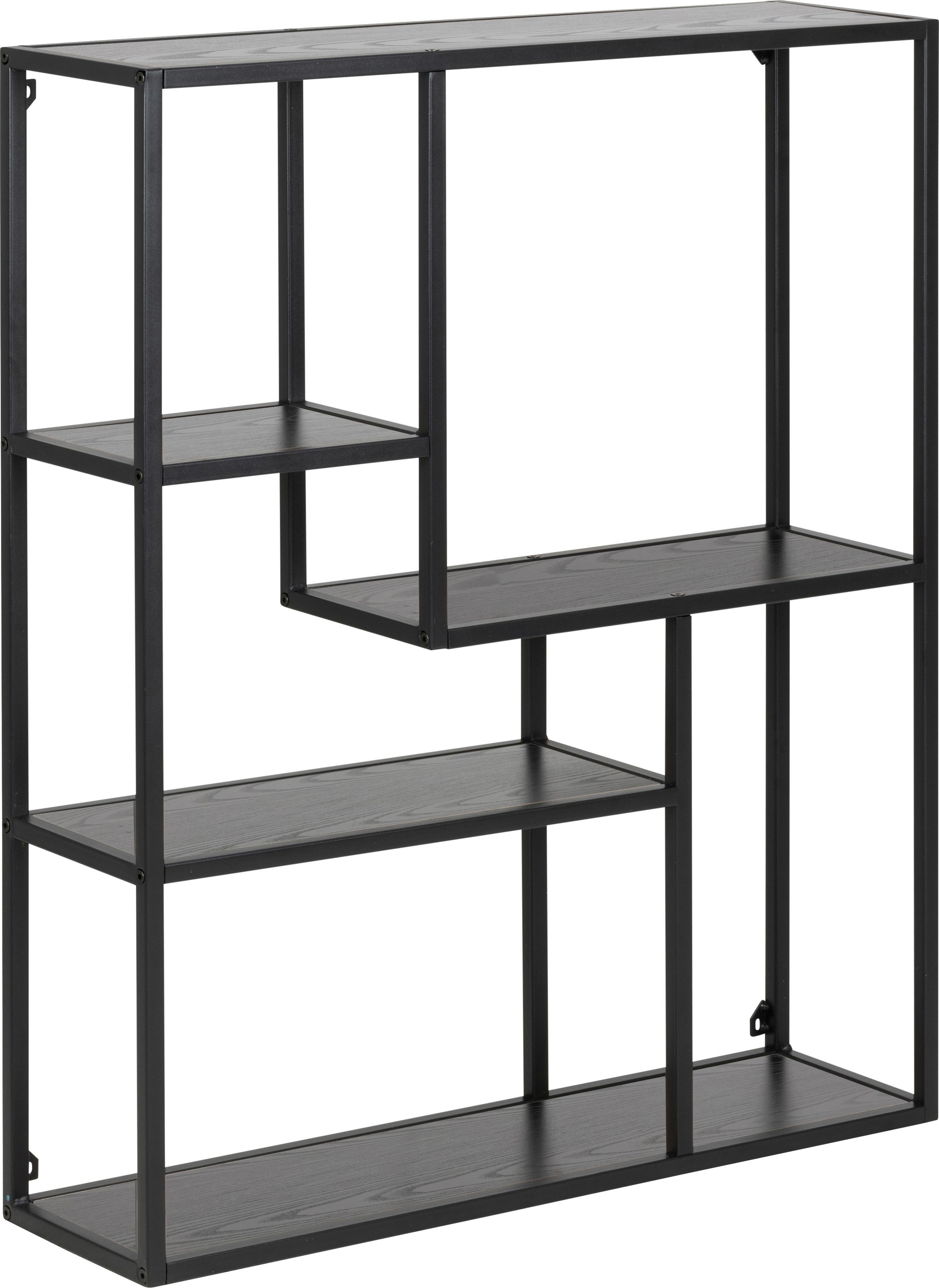 Estantería de pared Seaford Zig, Estantes: tablero de fibras de dens, Estructura: metal con pintura en polv, Negro, An 75 x Al 91 cm