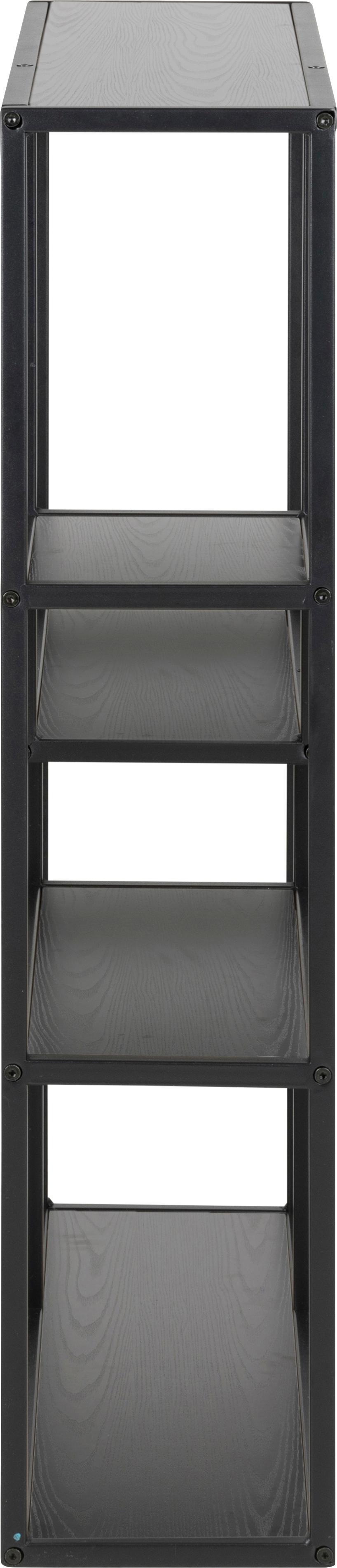 Libreria in legno e metallo Seaford Zig, Ripiani: pannello di fibra a media, Struttura: metallo verniciato a polv, Nero, Larg. 75 x Alt. 91 cm