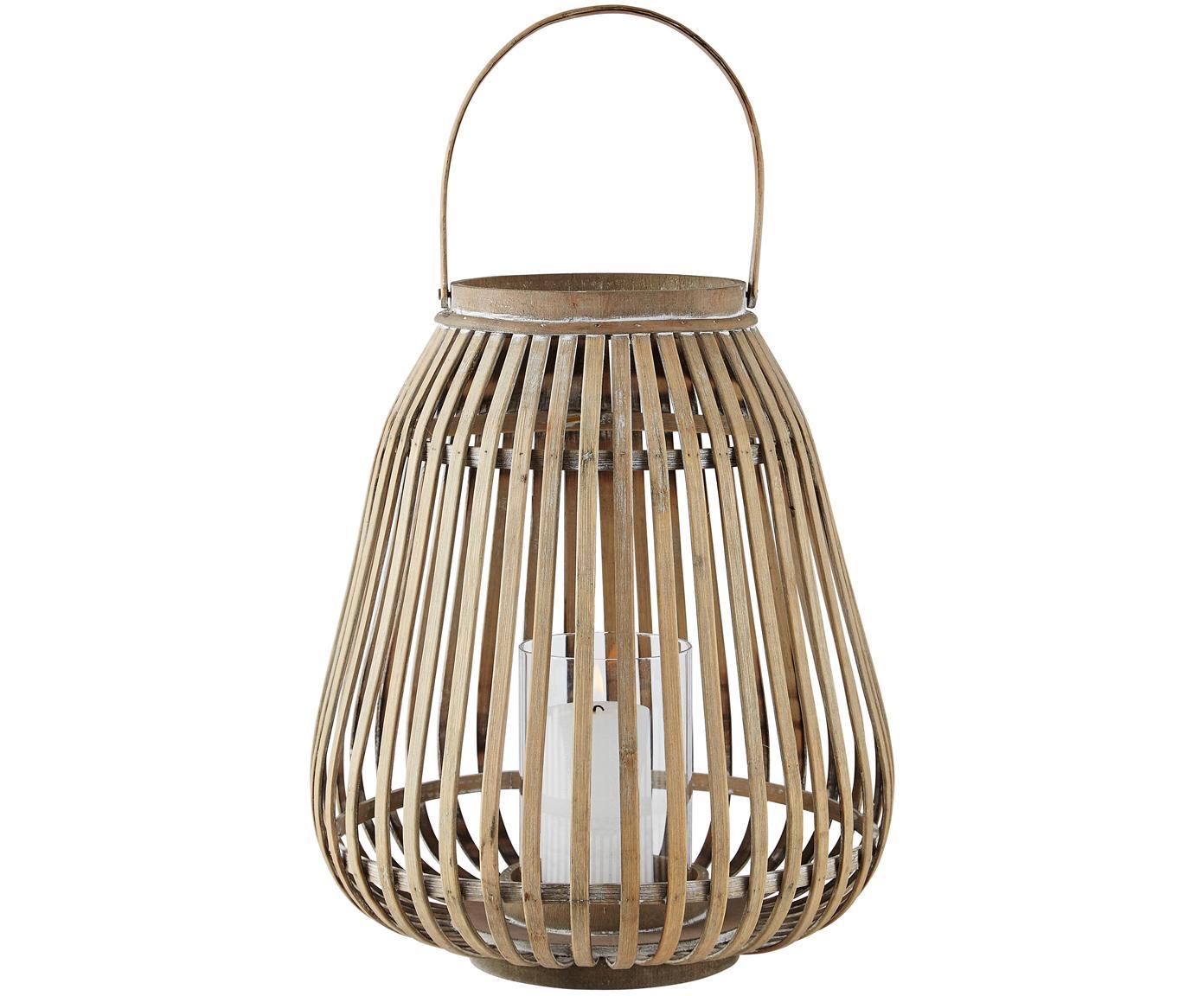 Laterne Alma, Gestell: Bambus, Windlicht: Glas, Gestell: Bambus<br>Windlicht: Transparent, Ø 29 x H 35 cm