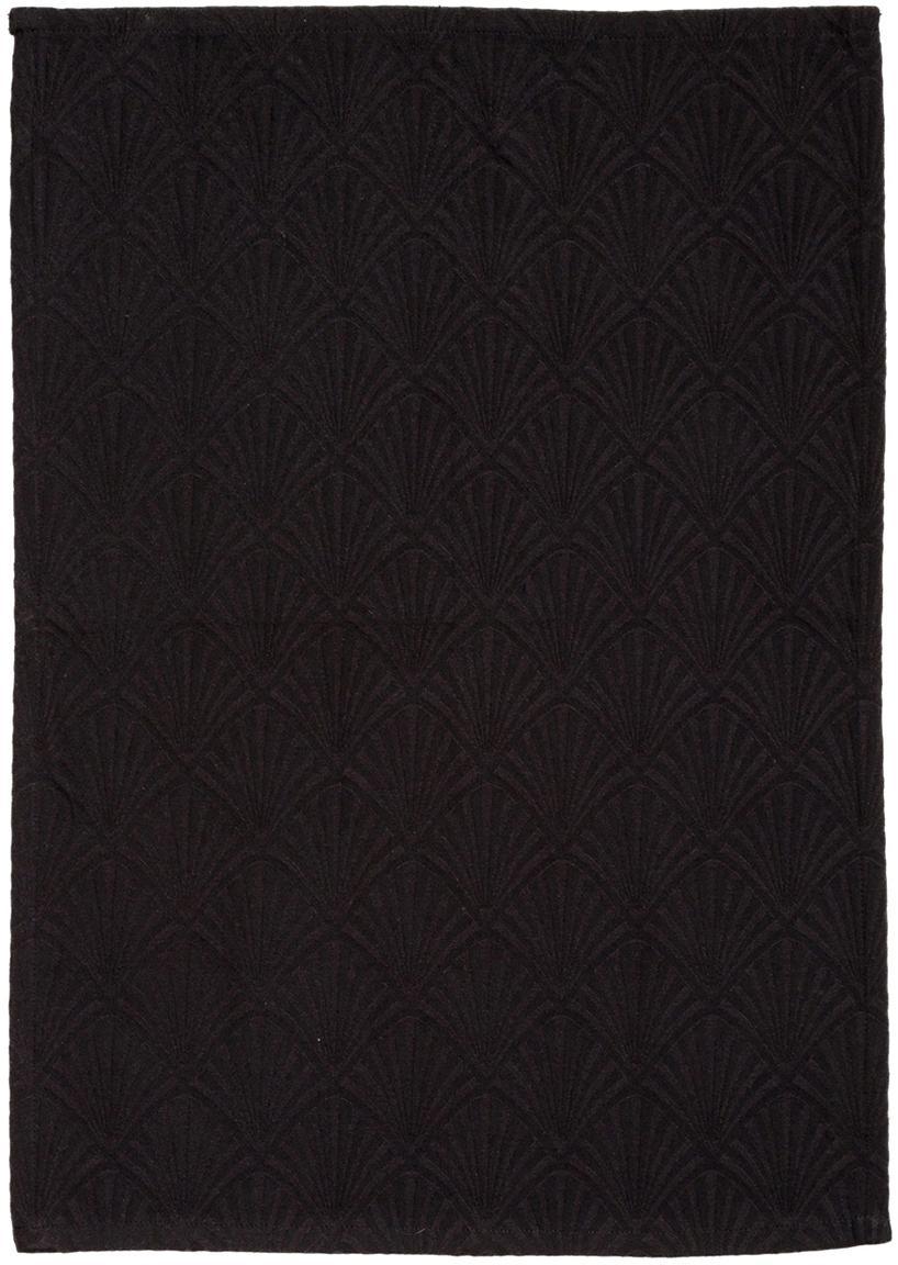 Theedoek Celine in glanzend zwart, Weeftechniek: jacquard, Zwart, 50 x 70 cm