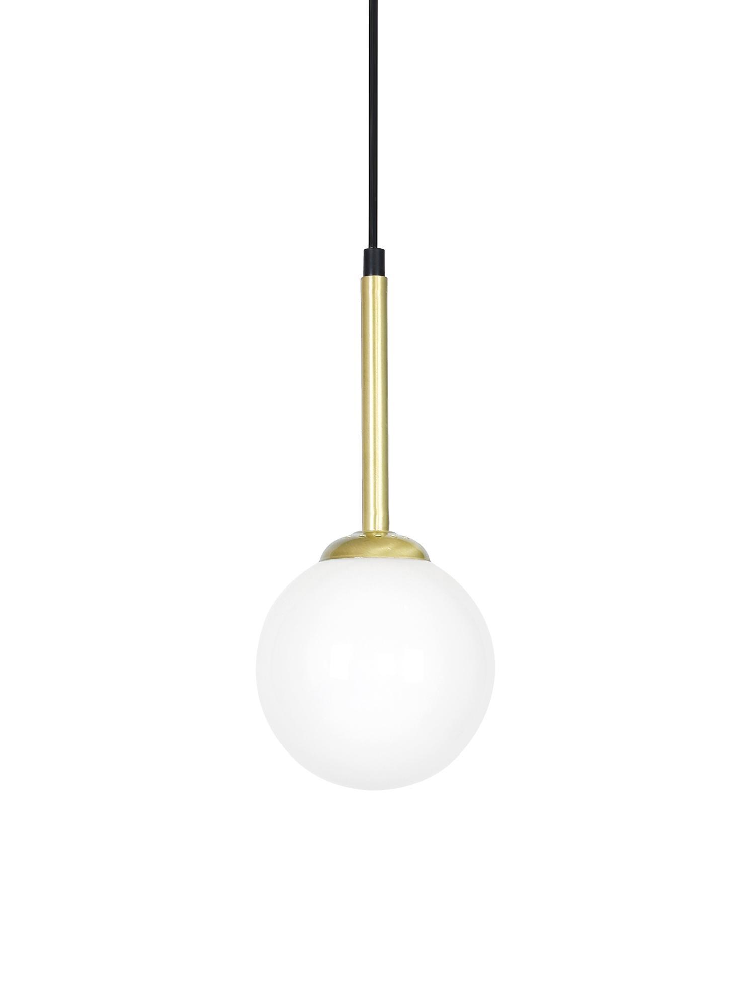 Kleine Pendelleuchte Parma aus Opalglas, Lampenschirm: Opalglas, Weiß, Messingfarben, Ø 14 x H 30 cm