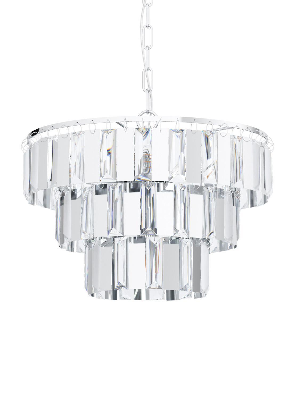 Pendelleuchte Erseka aus Kristallglas, Lampenschirm: Kristallglas, Baldachin: Stahl, Transparent, Chrom, Ø 39 x H 130 cm