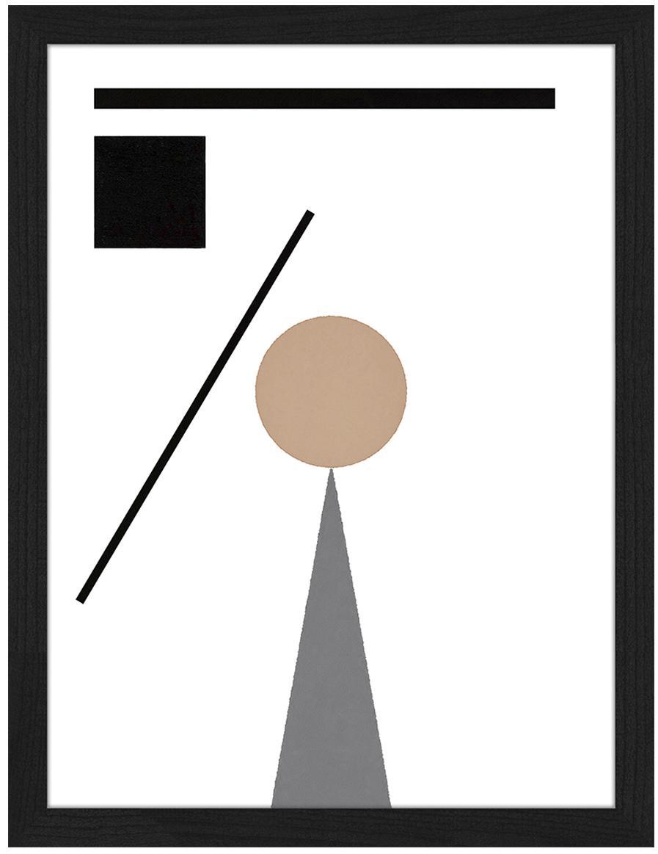 Gerahmter Digitaldruck Abstract Minimalist, Rahmen: Buchenholz, lackiert, Front: Plexiglas, Bild: Digitaldruck auf Papier, , Schwarz, Beige, Weiß, Grau, 33 x 43 cm