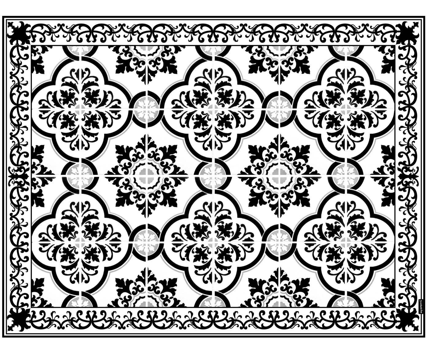 Passatoia in vinile riciclabile Elena, Vinile riciclabile, Nero, bianco, grigio, Larg. 65 x Lung. 85 cm