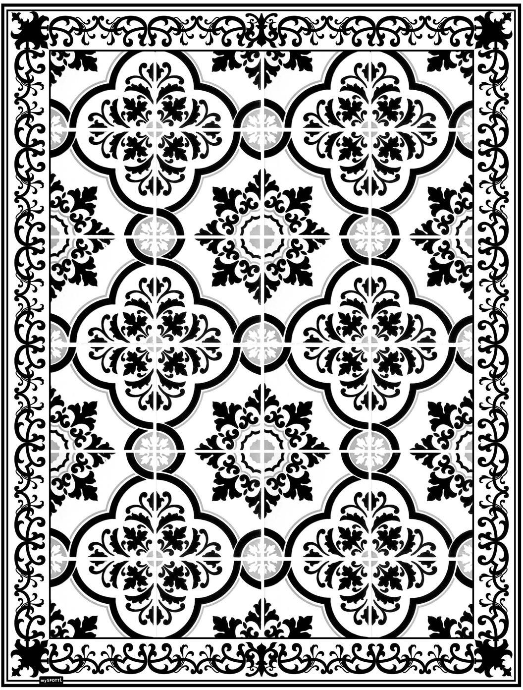 Mata podłogowa z winylu Elena, Winyl pochodzący z recyklingu, Czarny, biały, szary, S 65 x D 85 cm