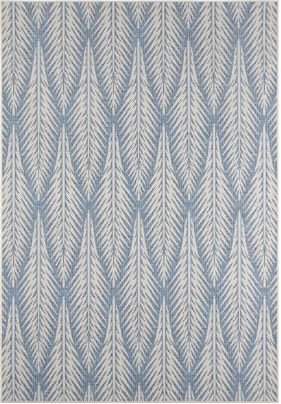 Design In- & Outdoor-Teppich Pella mit grafischem Muster, 100% Polypropylen, Blau, Beige, B 140 x L 200 cm (Größe S)