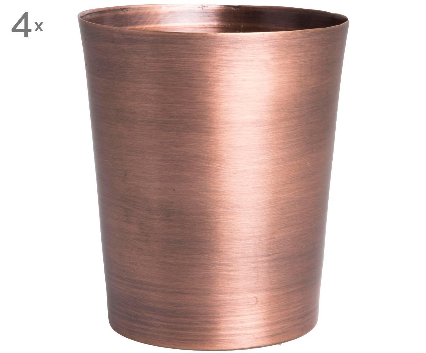 Bekers Copper, 4 stuks, Koper, Koperkleurig, Ø 7 x H 8 cm