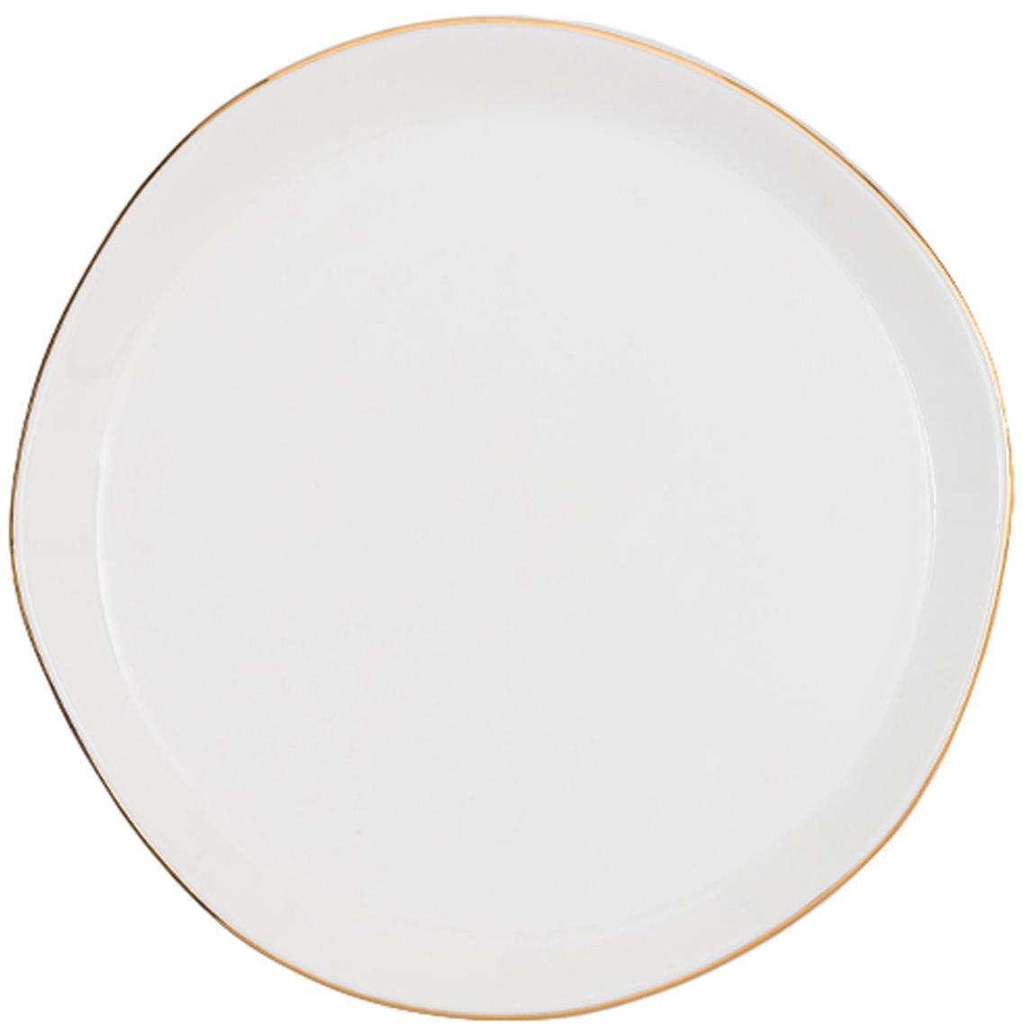 Kuchenteller Good Morning in Weiß mit Goldrand, Porzellan, Weiß, Goldfarben, Ø 17 cm