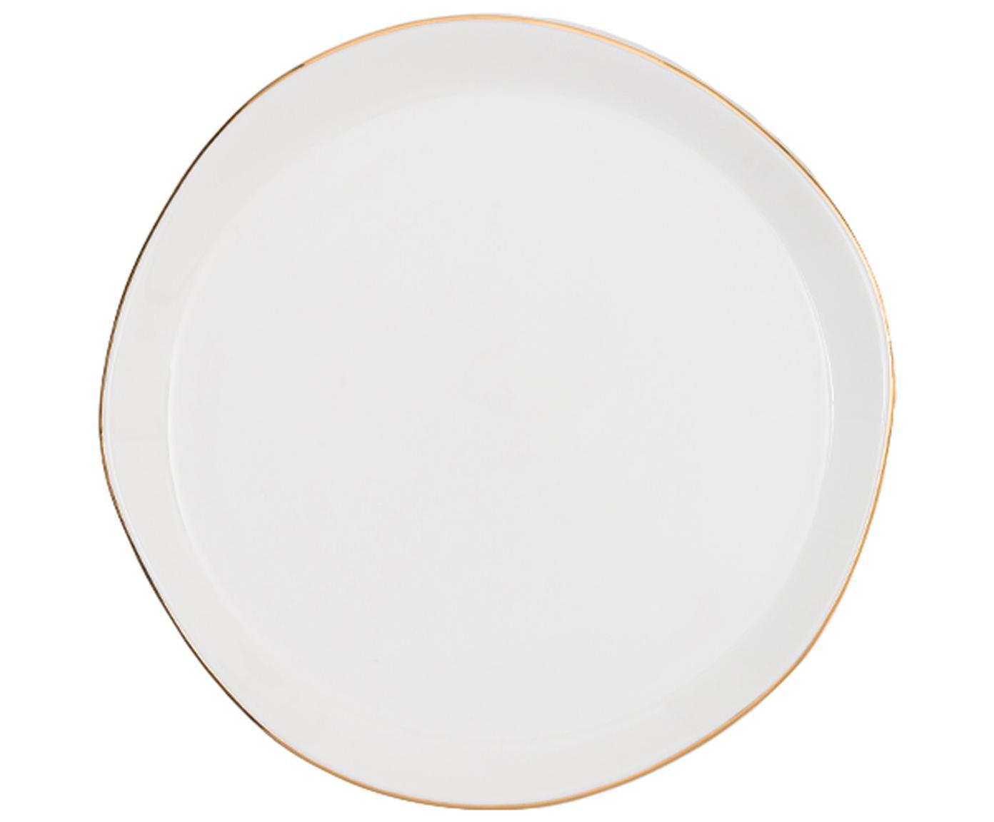 Piatto da colazione con bordo dorato Good Morning, Porcellana, Bianco, dorato, Ø 17 cm