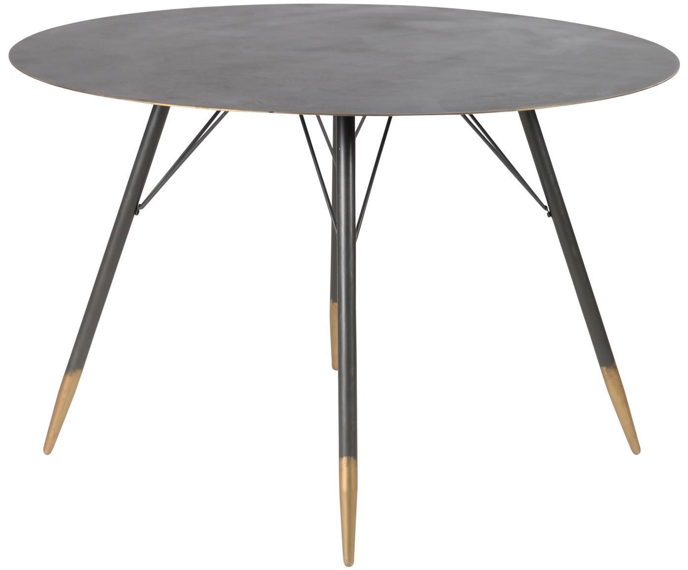 Tavolo rotondo in metallo Rikke, Metallo, dipinto con segni intenzionali di usura, Nero, ottone, Ø 120 x Alt. 76 cm