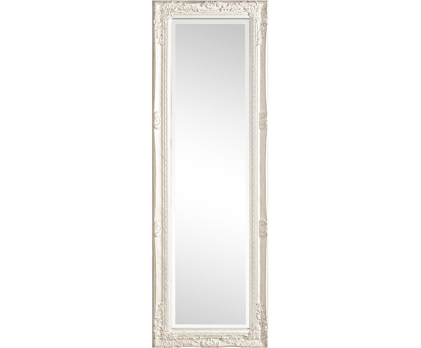 Eckiger Wandspiegel Miro mit weissem Holzrahmen, Rahmen: Holz, beschichtet, Spiegelfläche: Spiegelglas, Weiss, 42 x 132 cm