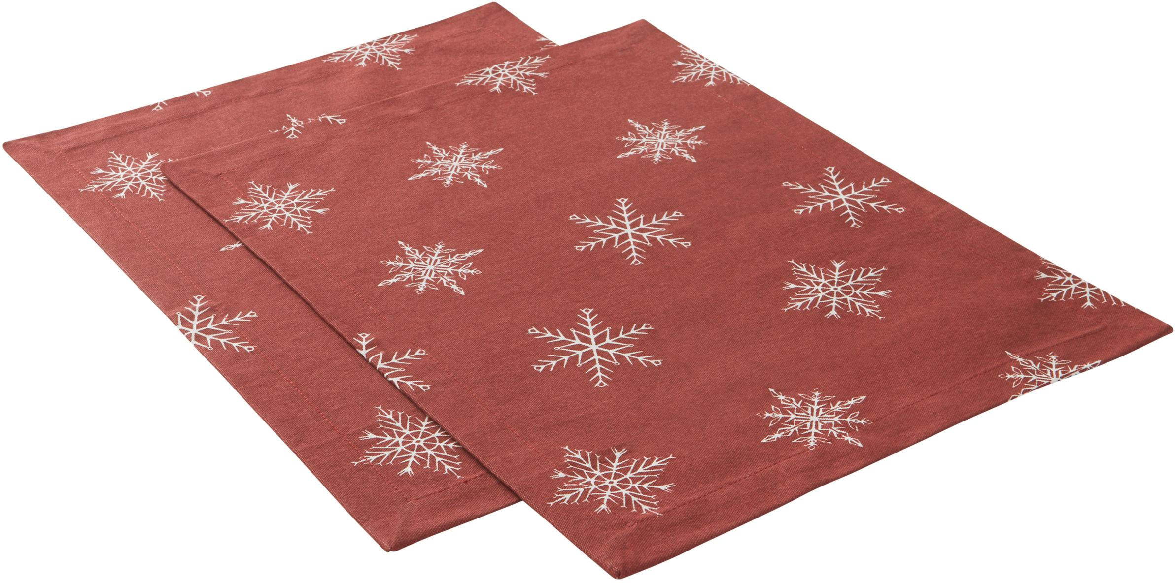 Tovaglietta americana Snow 2 pz, 100% cotone, da coltivazione sostenibile del cotone, Rosso, bianco, Larg. 35 x Lung. 45 cm