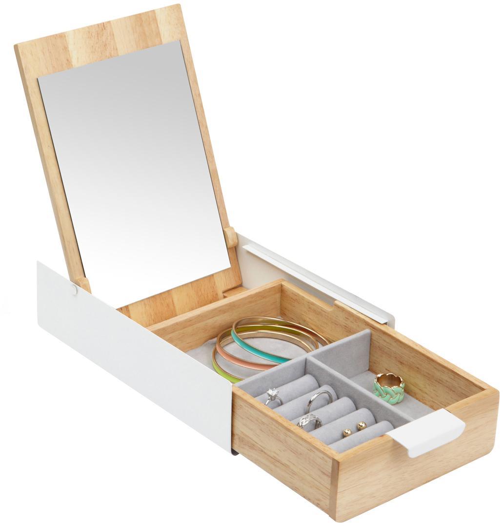 Schmuckbox Reflexion, Box: Metall, lackiert, Holz, Box: Weiss, Holz<br>Innenfutter: Grau<br>Deckel innen: Spiegelglas, 24 x 6 cm