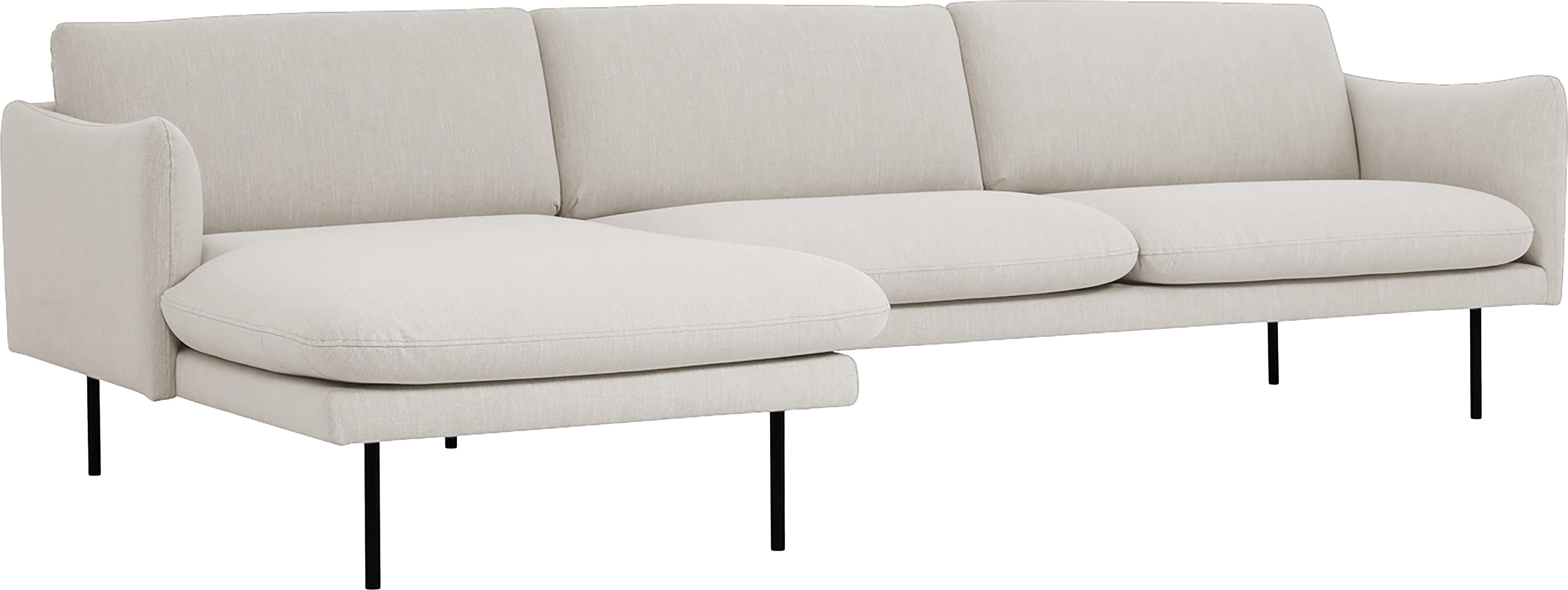 Sofa narożna Moby, Tapicerka: poliester 60000 cykli w , Stelaż: lite drewno sosnowe, Nogi: metal malowany proszkowo, Beżowy, S 280 x G 160 cm