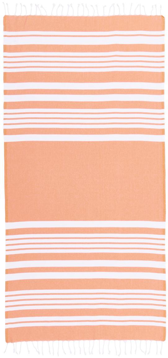Telo mare a righe con frange Stripy, Cotone Qualità molto leggera 185 g/m², Arancione, bianco, Larg. 95 x Lung. 175 cm