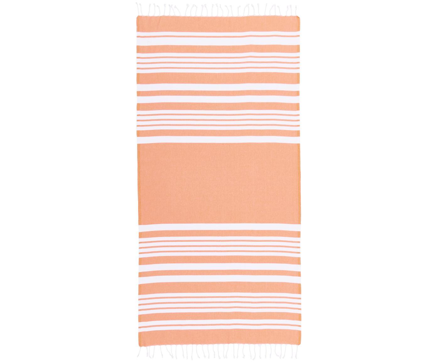 Gestreiftes Hamamtuch Stripy mit Fransenabschluss, 100% Baumwolle Sehr leichte Qualität, 185 g/m², Orange, Weiß, 95 x 175 cm