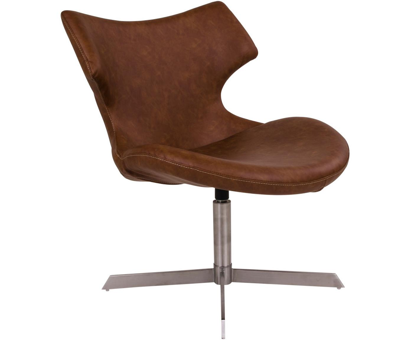 Silla giratoria en cuero sintético Zampi, Tapizado: cuero sintético, Estructura: acero, Marrón, acero, An 70 x F 65 cm