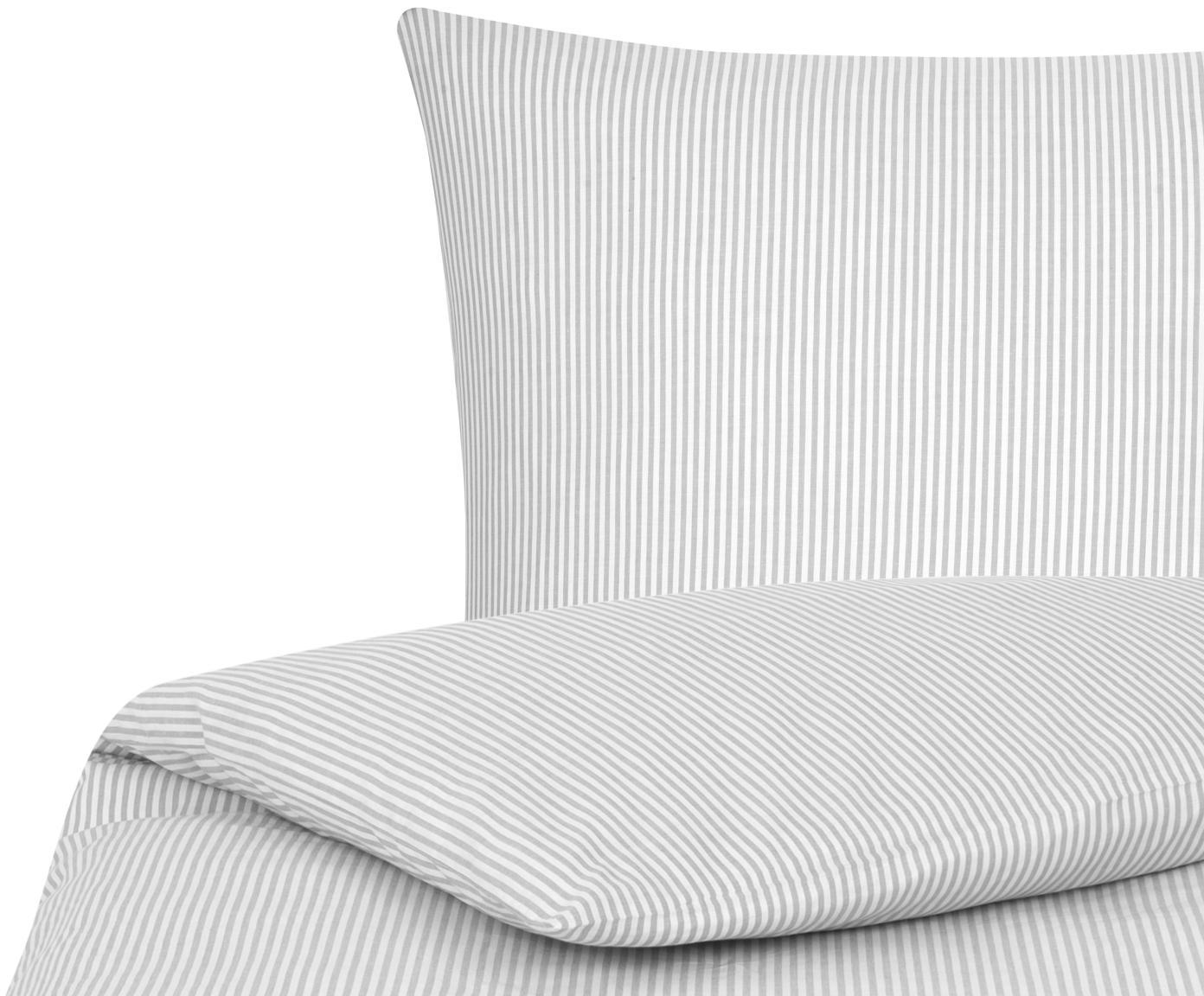 Baumwoll-Bettwäsche Ellie, fein gestreift, Webart: Renforcé Fadendichte 118 , Weiß, Grau, 135 x 200 cm + 1 Kissen 80 x 80 cm