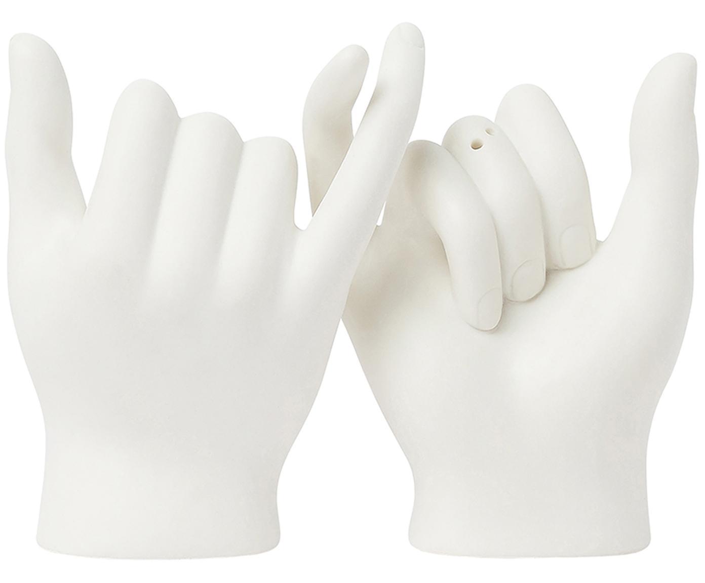 Salz- und Pfefferstreuer Pinky Swear, 2er-Set, Keramik, Weiß, 9 x 11 cm