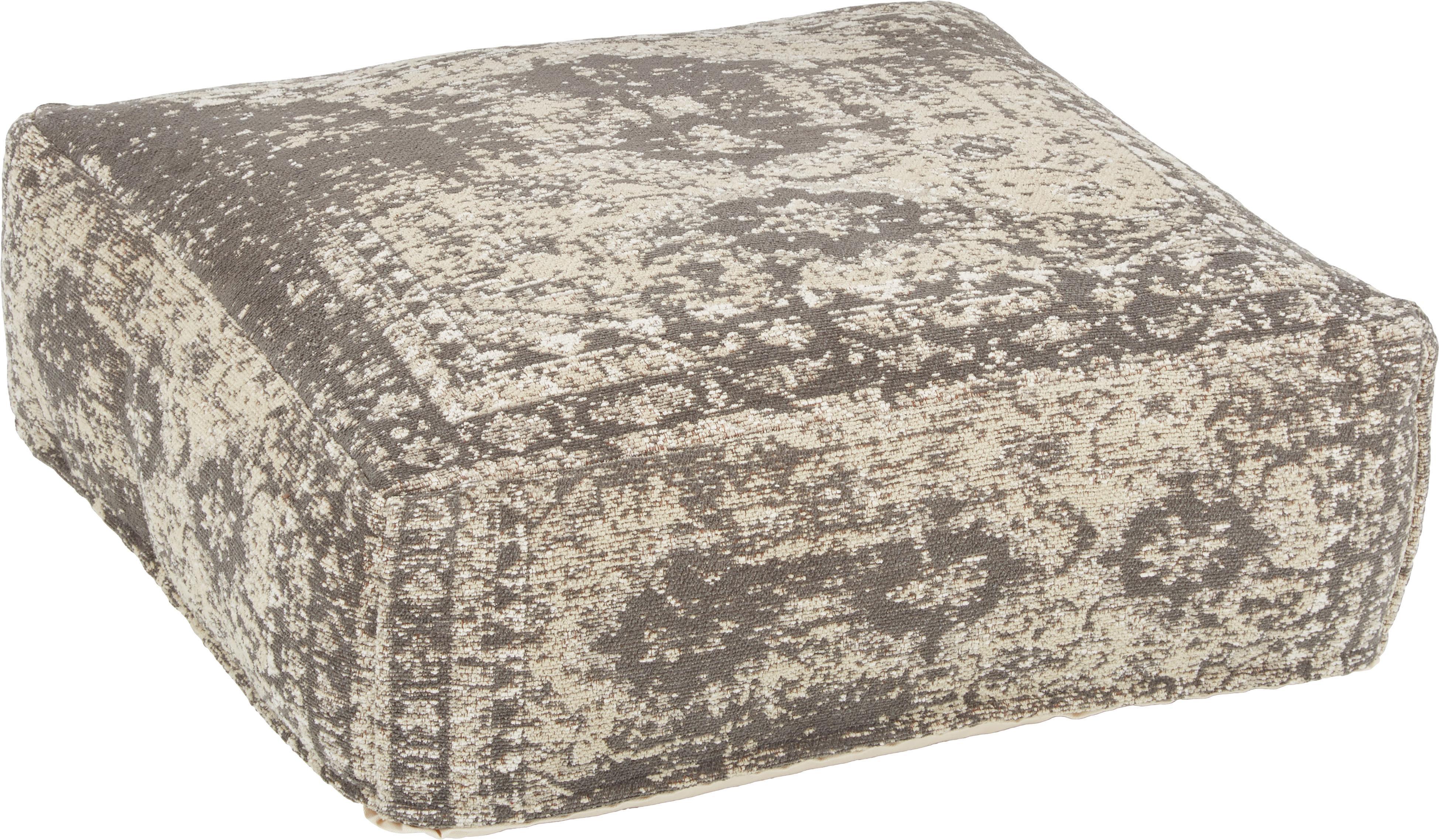 Cuscino da pavimento vintage Rebel, Rivestimento: 95% cotone, 5% poliestere, Grigio scuro, crema, Larg. 70 x Alt. 20 cm