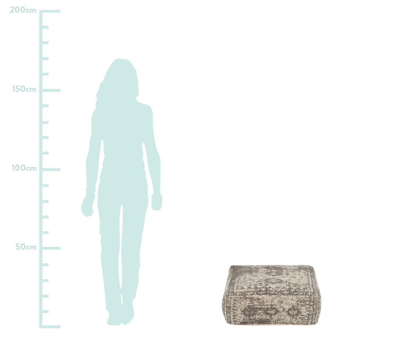 Poduszka podłogowa vintage Rebel, Tapicerka: 95% bawełna, 5% poliester, Ciemnyszary, kremowy, S 70 x D 70 cm