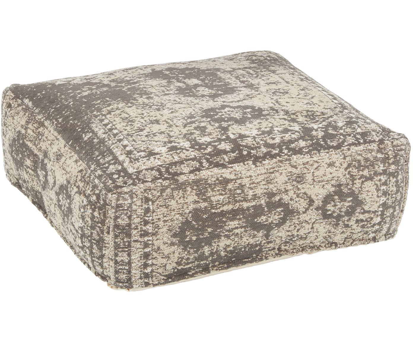 Vintage vloerkussen Rebel, Bekleding: 95% katoen, 5% polyester, Donkergrijs, crèmekleurig, 70 x 70 cm