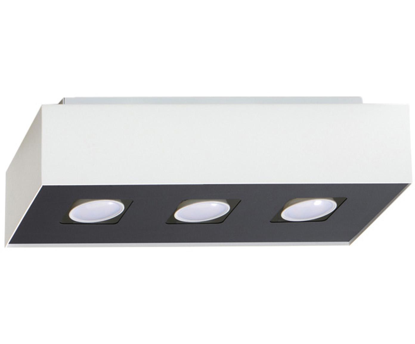 Plafoniera Hydra, Paralume: acciaio rivestito, Baldacchino: acciaio rivestito, Bianco, nero, Larg. 34 x Alt. 11 cm