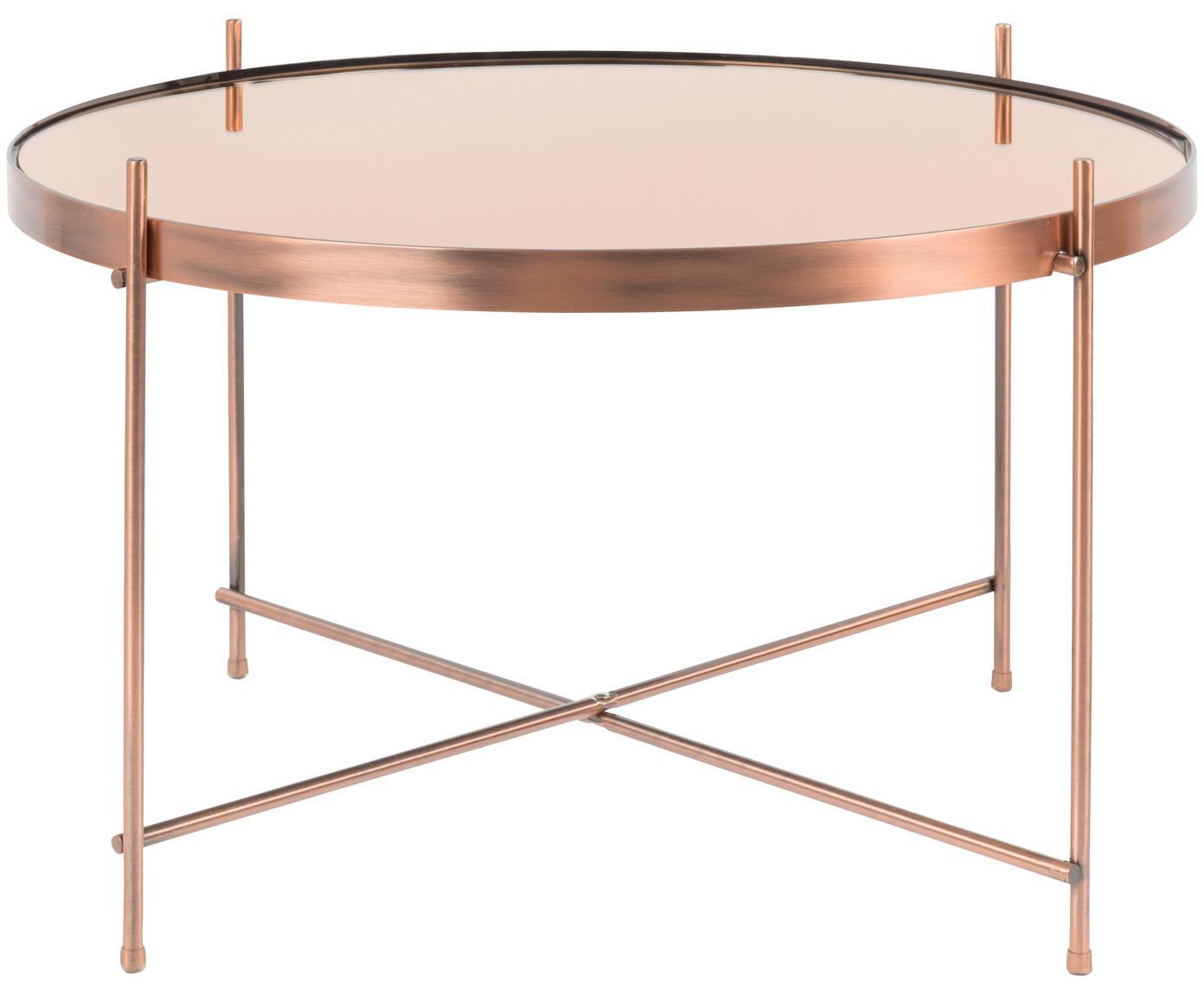 Kleine salontafel Cupid met glazen tafelblad, Frame: verkoperd metaal., Tafelblad: spiegelglas, Koperkleurig, Ø 63 x H 40 cm