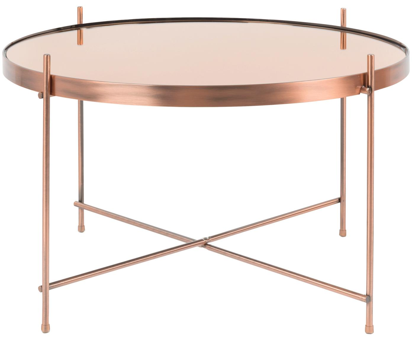 Mesa de centro pequeña Cupid, tablero de cristal, Estructura: hierro, cobre, Tablero: vidrio, Cobre, Ø 63 x Al 40 cm