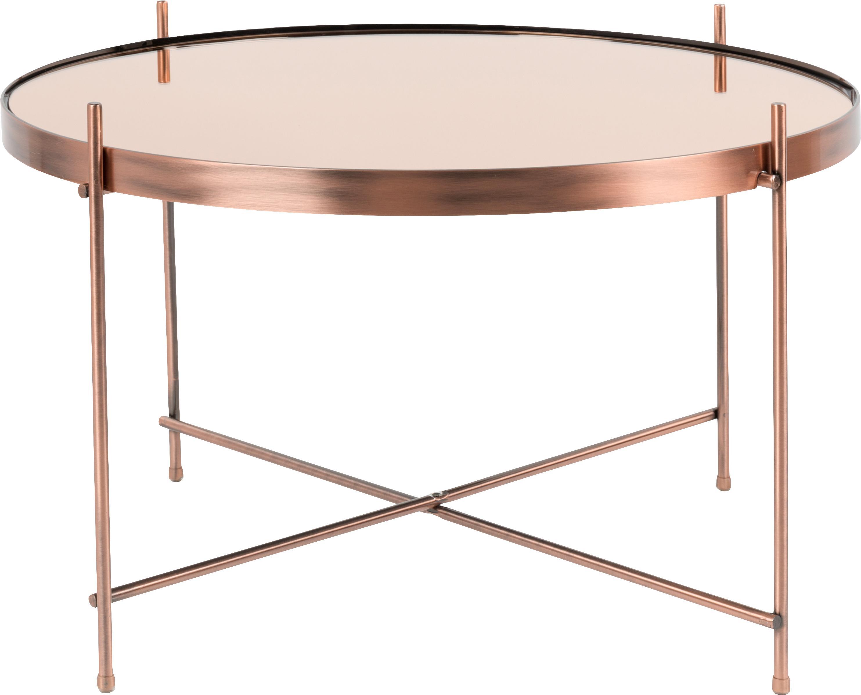 Tavolino da salotto con piano in vetro Cupid, Struttura: ferro ramato, Piano d'appoggio: vetro, Rame, Ø 63 x Alt. 40 cm