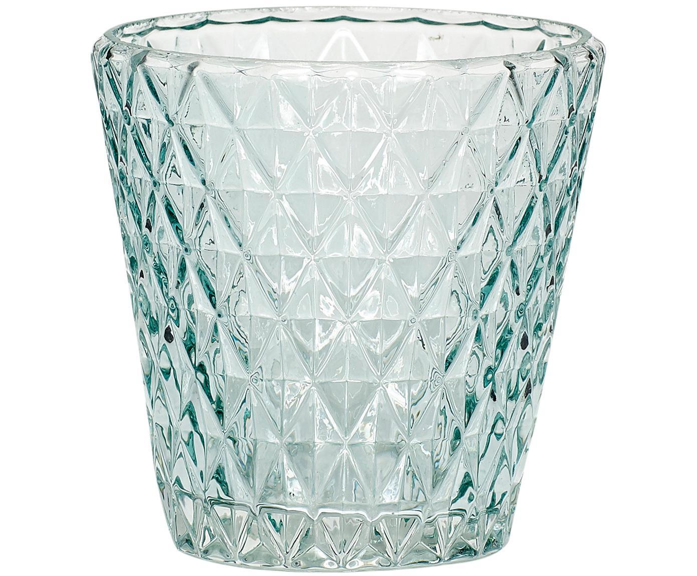 Teelichthalter Elsa, Glas, Hellblau, transparent, Ø 10 x H 10 cm