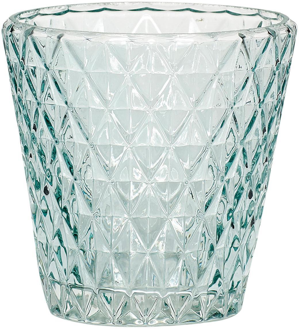 Portacandela Elsa, Vetro, Azzurro trasparente, Ø 10 x A 10 cm