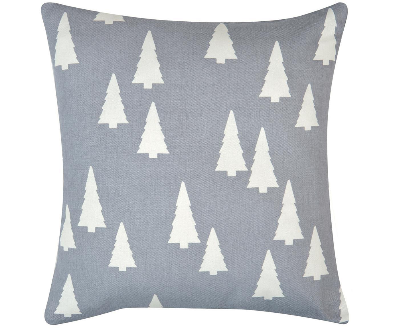 Federa arredo in grigio/bianco  Tree, Cotone, tessuto panama, Grigio, ecru, Larg. 40 x Lung. 40 cm