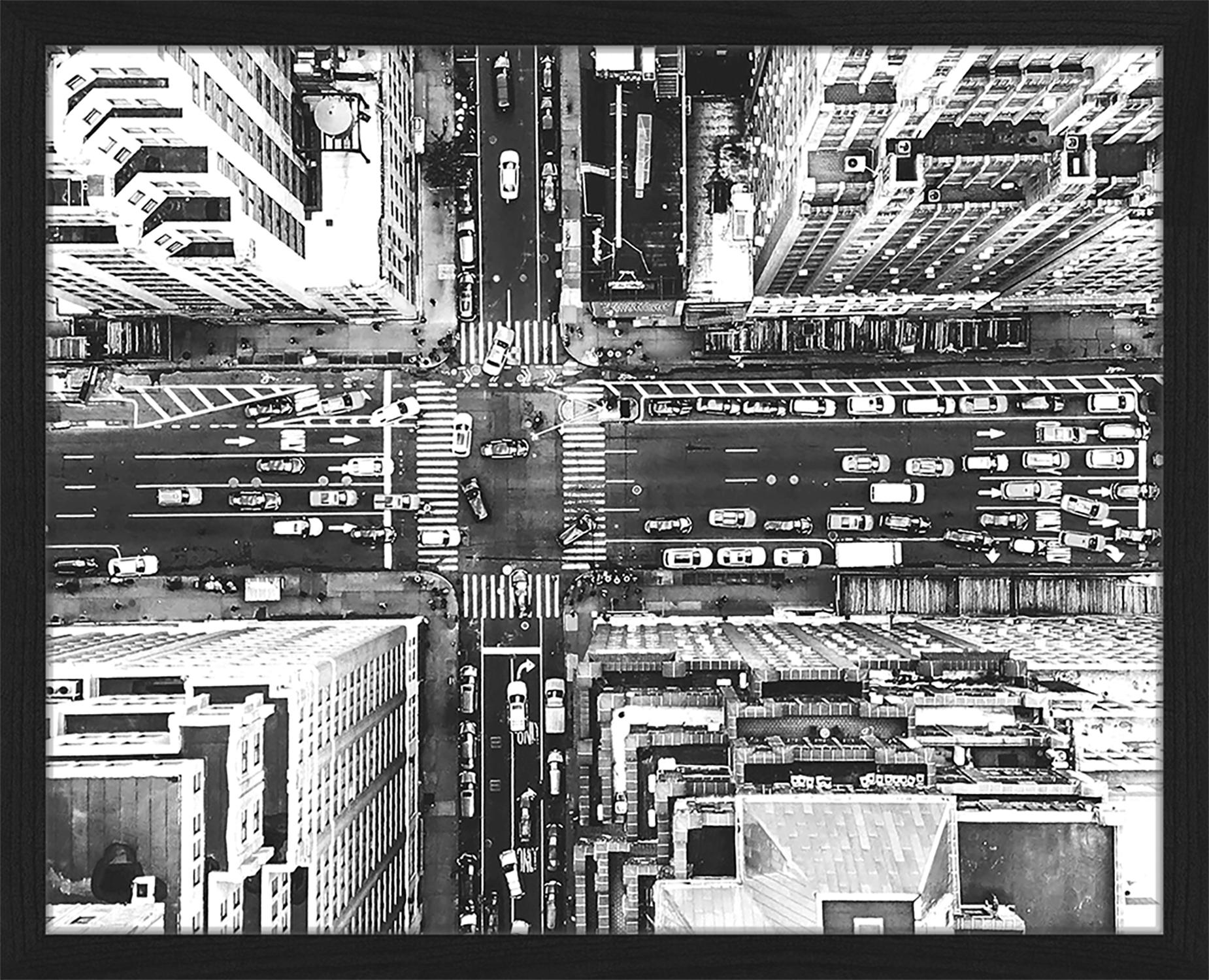 Ingelijste digitale print Aerial View Of New York, Afbeelding: digitale print op papier,, Lijst: gelakt hout, Zwart, wit, 53 x 43 cm