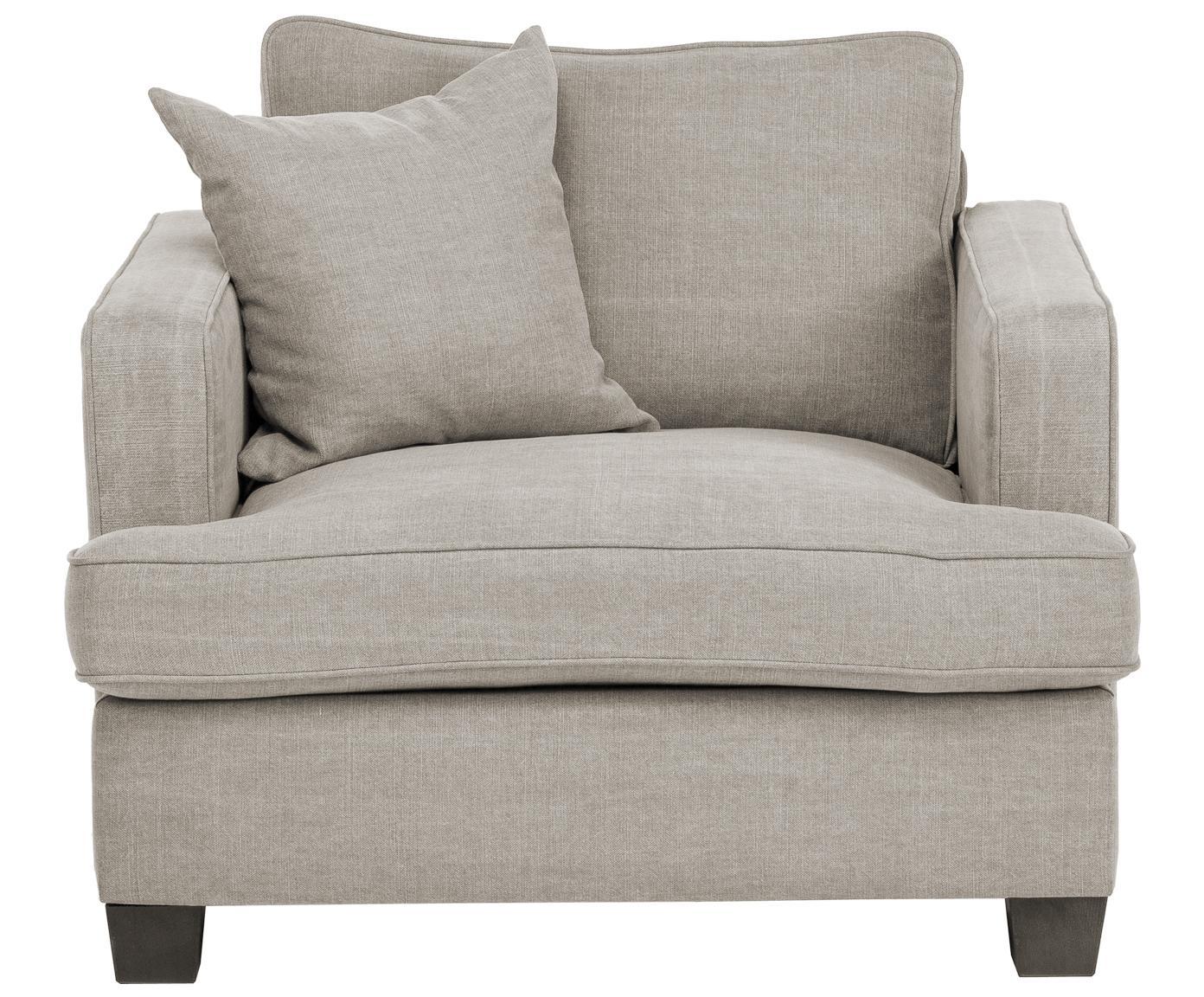 Fotel Warren, Stelaż: drewno naturalne, Tapicerka: 60% bawełna, 40% len Tapi, Nogi: czarne drewno, Piaskowoszary, S 103 x W 85 cm
