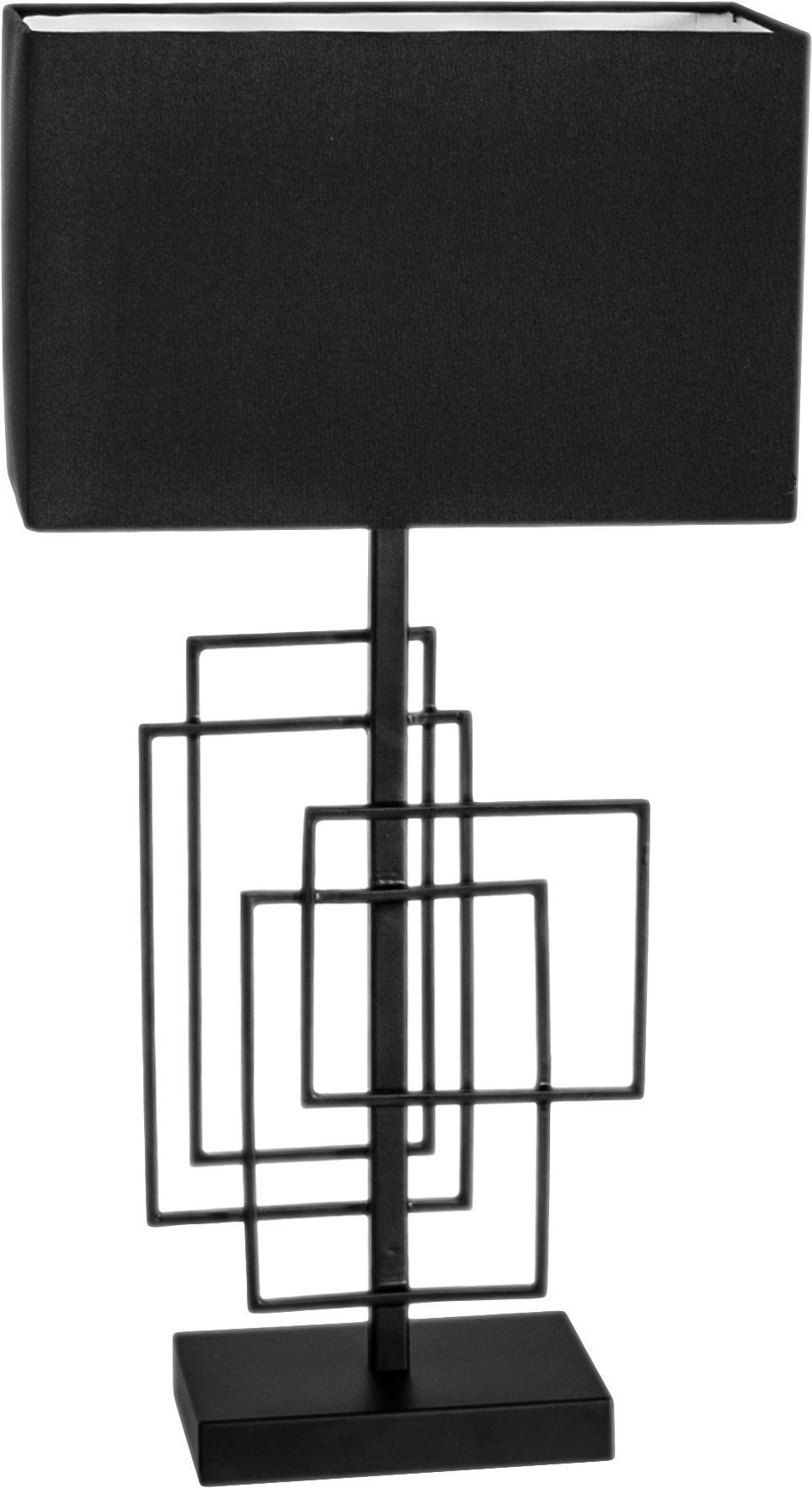 Große Tischlampe Paragon aus Leinen, Gestell: Metall, pulverbeschichtet, Lampenschirm: Leinen, Schwarz, 27 x 52 cm