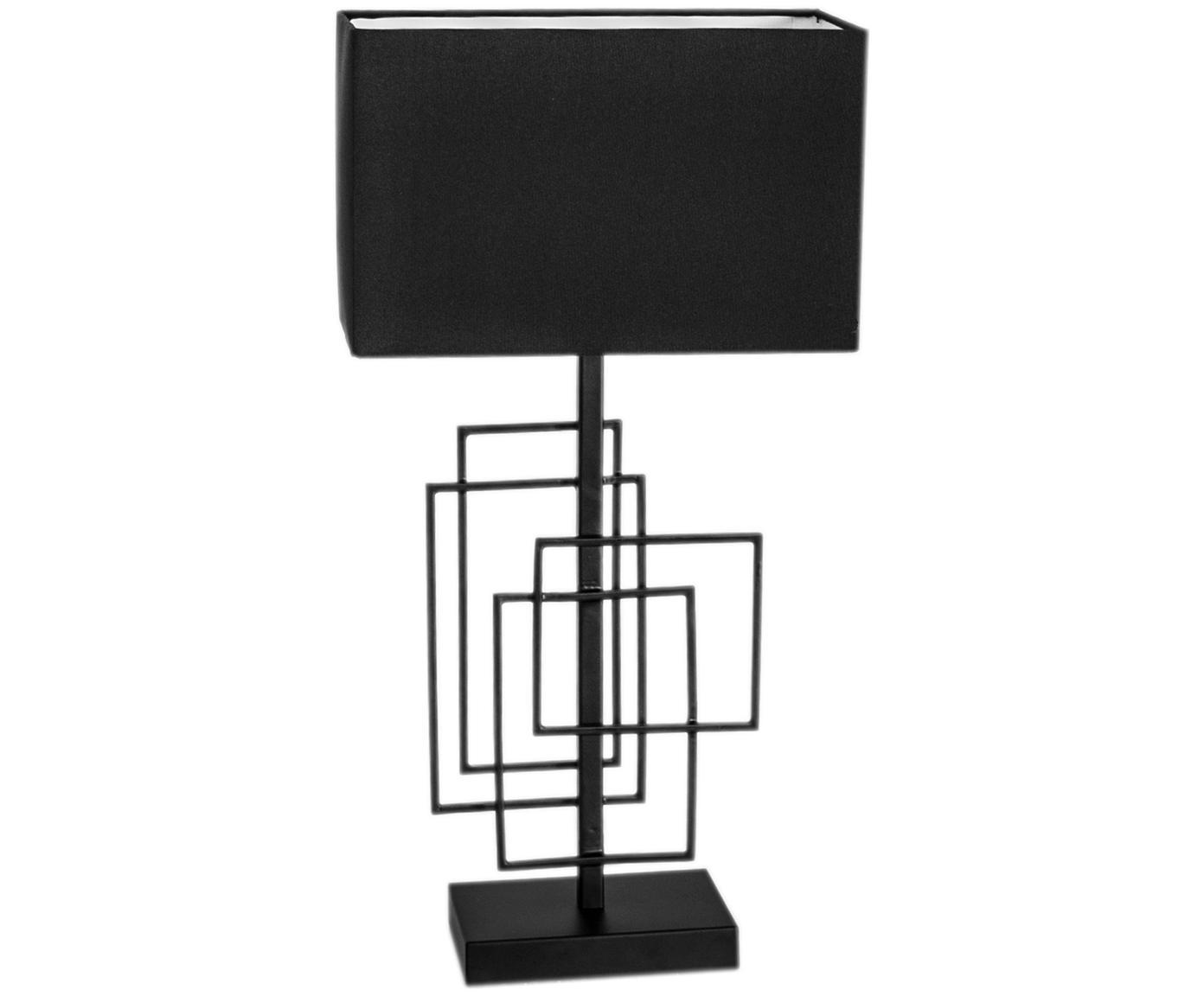 Tafellamp Paragon van linnen, Frame: gepoedercoat metaal, Lampenkap: linnen, Zwart, 27 x 52 cm