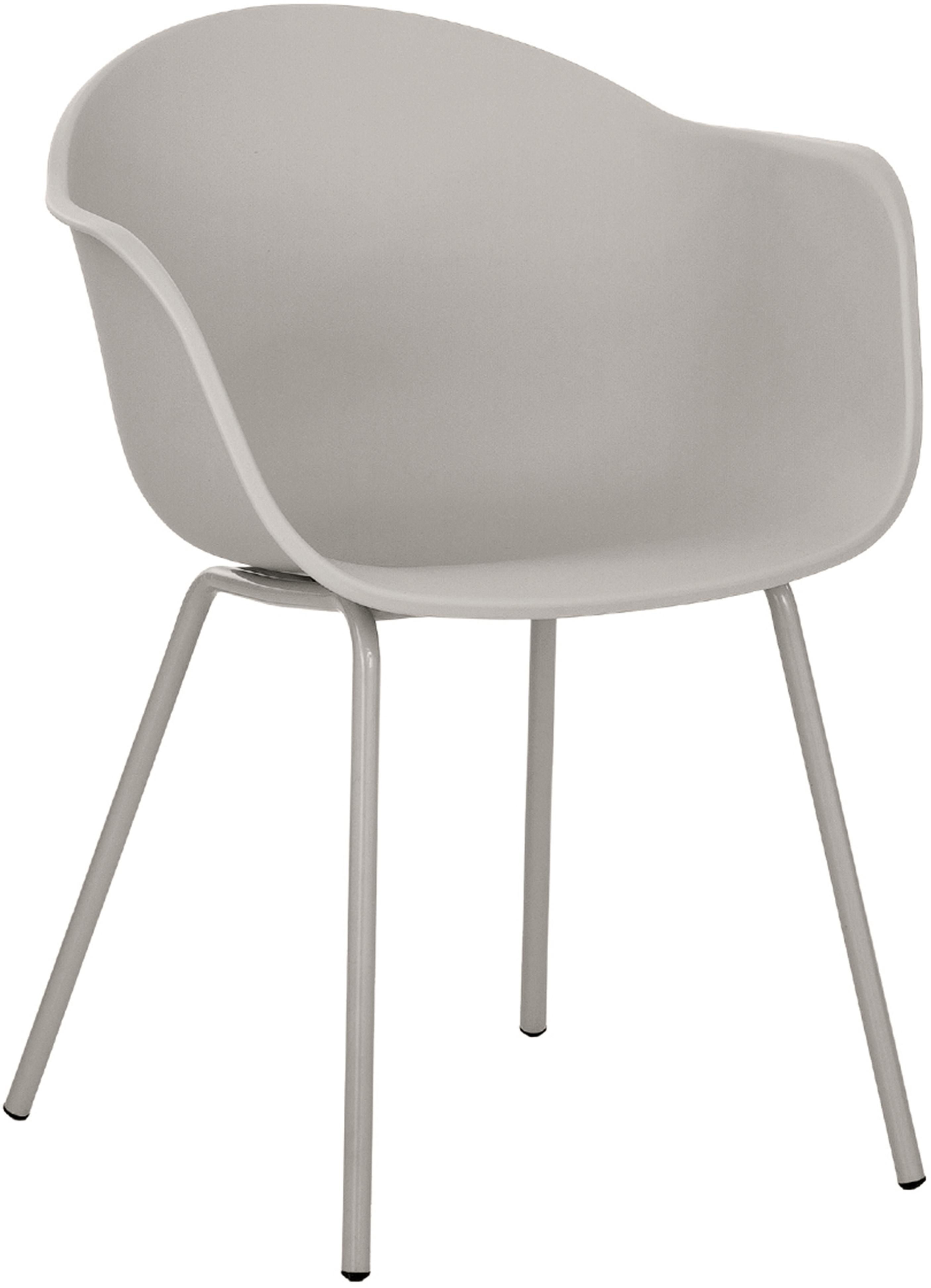 Sedia con braccioli in plastica con gambe in metallo Claire, Seduta: materiale sintetico, Gambe: metallo verniciato a polv, Grigio beige, Larg. 54 x Prof. 60 cm