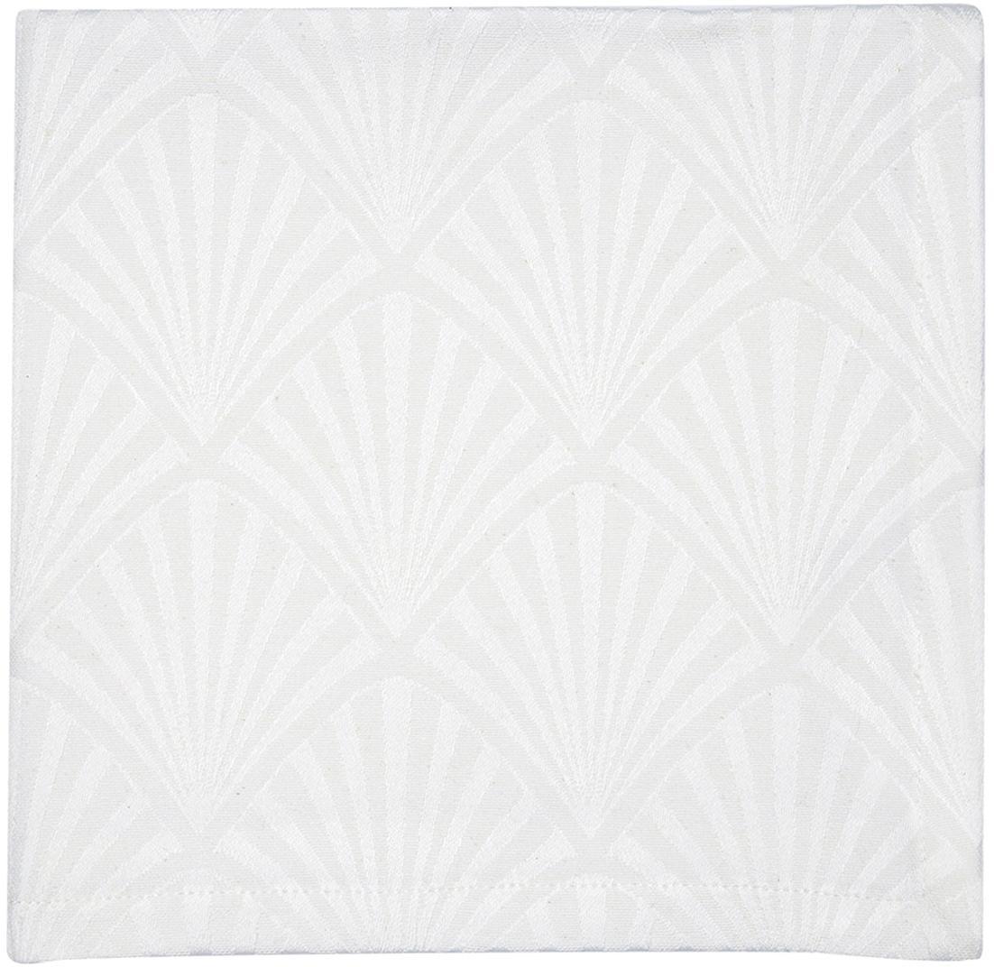 Servilletas de algodón Celine, 4uds., estilo Art Déco, Blanco, An 40 x L 40 cm